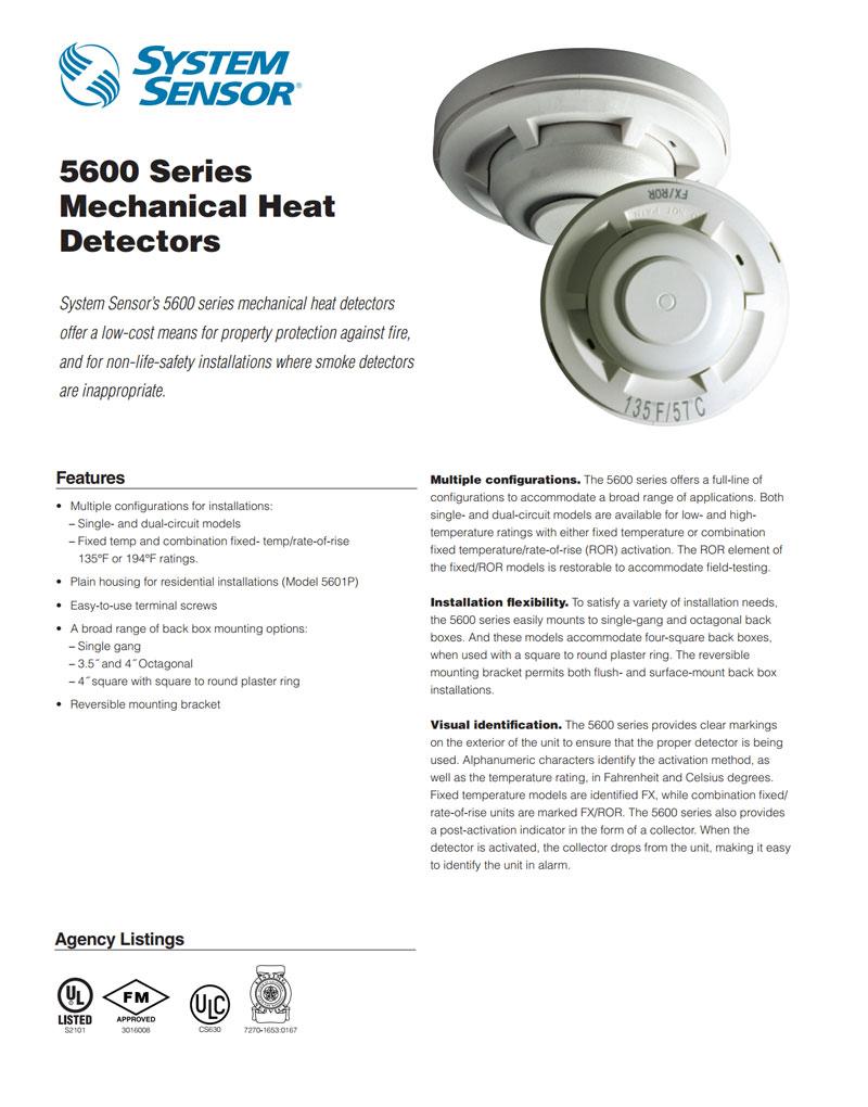 System Sensor Combination Heat Detector Model 5602 Fixed